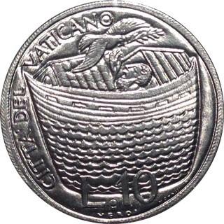 1975, Monedă de 10 lire, Orașul Vatican