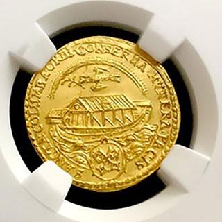 Ducat de aur, 1649, comemorând sfârșitul războiului de treizeci de ani, de orașul Regensburg (Germania) Credit: parategoldcoin.com