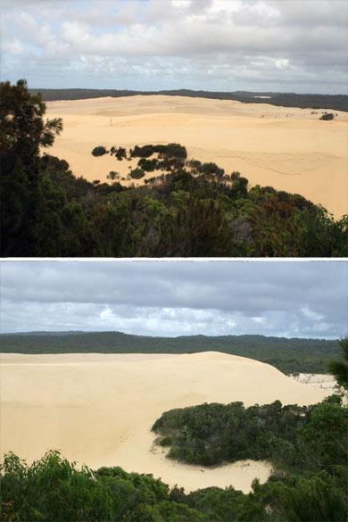 O dună de nisip parabolică și mare suflă peste dune de nisip mai vechi pe Insula Fraser, o mare insulă de nisip pe coasta Queensland.