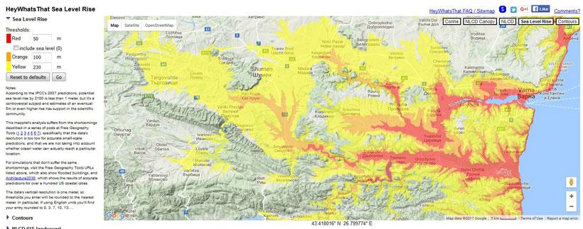 Figura 2. Vederea terestră a zonei din jurul Provadiei. Roșu = nivelul apei de până la 50 m mai mare decât nivelul actual al mării. Portocaliu = apă cu 50-100 m mai mare. Galben = apă 100-230 m mai mare. Culoarea verde deschis (vizualizarea fără umbre a teritoriului din Google Maps) depășește 230 m. Provadia este situată la aproximativ 50 km la vest (stânga) de Varna, în valea îngustă care arată ca o bandă roșie verticală. Platoul poate fi văzut pe ambele părți ale orașului Provadia, ca o zonă de culoare verde palid. Odată ce apele Potopului lui Noe s-au redus sub nivelul platoului, s-ar fi reținut un volum enorm de apă în această zonă.
