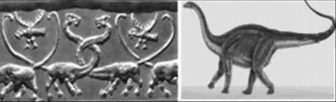 Comparație între brontosauri sculptați și brontosaur reconstituit de oamenii de știință dupa scheletele descoperite