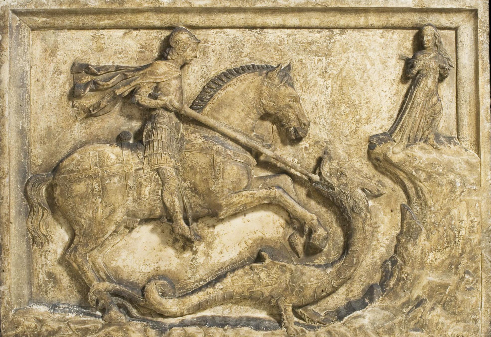 Sf. Gheorghe și dragonul (relief). Muzeul Victoria și Albert. Locul de origine: Veneția, Italia, anul 1500. Acest relief a fost găsit pe peretele exterior al unei case de lângă Ponte del Baretteri.