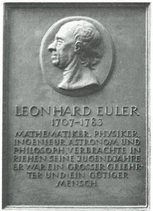 O placă cu Euler a fost dezvelită în Riehen în 1960 pentru aniversarea a 500 de ani de la Universitatea din Basel. Textul de sub numele său este: matematician, fizician, inginer, astronom și filozof. Și-a petrecut tinerețea la Riehen. Era un mare savant și o persoană cu suflet bun.