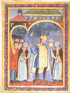 Figura 2: Henric al III-lea, Sfântul Împărat Roman (1017-1056), fiind prezentat cu sfera regatului.Credit: Wikipedia.org
