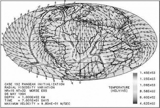 Figură 5 Una dintre imaginile computerizate ale lui Baumgardner care prezintă mișcarea plăcii