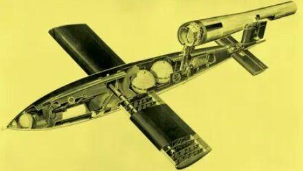 """Figura 5. Bomba zburătoare V1 a Germaniei naziste, poreclită """"Doodlebug"""", a fost alimentată prin sistemul de ardere cu impulsuri, similară cu cea a gândacului bombardier."""